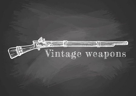 Vintage weapons. Vector hand drawn illustration of old musket. Retro poster on chalkboard. Illustration