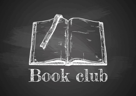 Vintage emblem of Book club on chalkboard. Drawn with chalk on blackboard.
