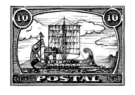 Grunge postage stamp with antique ship. Bireme. Vector hand drawn illustration. Illustration