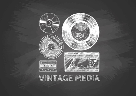 Media evolution set drawn with chalk on blackboard. Vinyl record, tape reel, compact tape cassette, VHS and compact disc.  Illustration