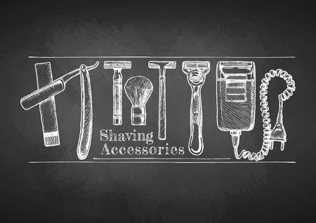 Shaving accessories set drawn with chalk on blackboard. Straight razor, double-edge Safety razor and shaving brush, disposable razor, modern razor, Electric razor.  Illustration