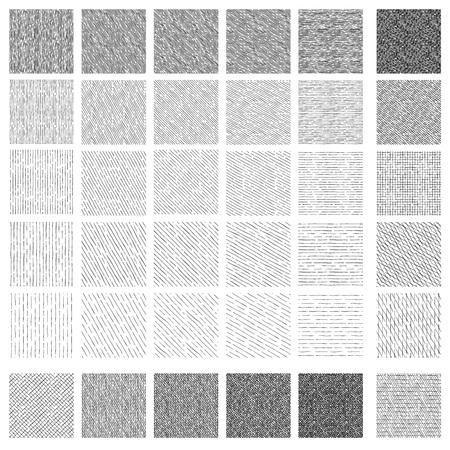 36 Patrones sin fisuras de texturas de rayado y rayado lineales dibujados a mano de tinta. La textura tiene 5 tonos diferentes y 5 ángulos diferentes: vertical, 30, 45 y 60 grados, horizontal.