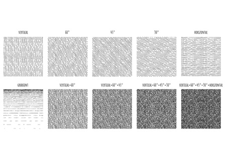 10 Seamless pattern of ink hand drawn linear hatching and crosshatching