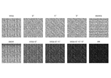 10 Seamless pattern of ink hand drawn linear hatching and crosshatching textures. Texture has 5 different angles: vertical, 30, 45 and 60 degrees, horizontal and gradient.