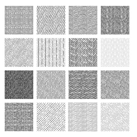 16 Seamless pattern of ink hand drawn linear hatching and crosshatching textures. vector illustration Vettoriali