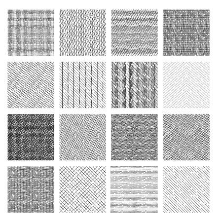 16 Patrones sin fisuras de texturas de rayado lineal y rayado cruzado dibujados a mano. ilustración vectorial