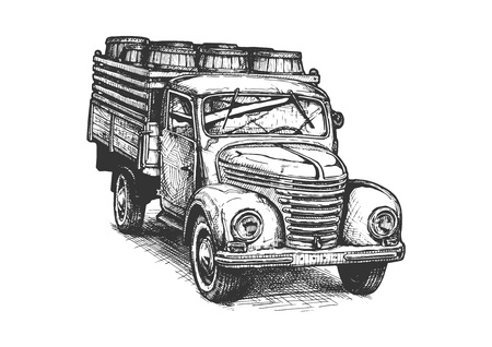 Vector hand drawn illustration of vintage truck with wood barrels.