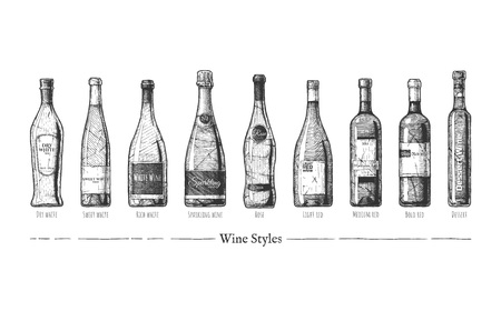 Vector hand drawn illustration of wine styles in vintage engraved style. Rich, Sweet and Dry White, Sparkling, Rose, Light, Medium and Bold Red. Dessert wines. Stock Illustratie
