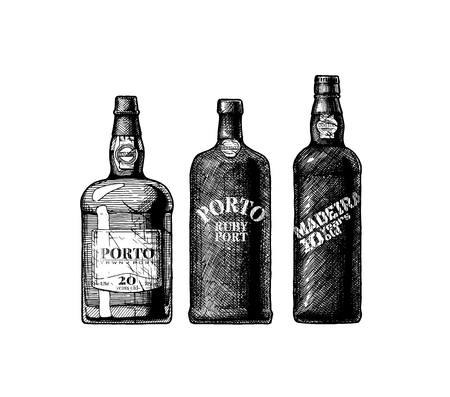 Hand drawn vector illustration of three port and Madeira wine bottles in vintage engraved style.