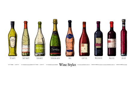 Dibujado a mano ilustración vectorial de estilos de vino en estilo vintage grabado. Ricos, dulces y secos vinos blancos, espumosos, rosados, claros, medios y audaces.