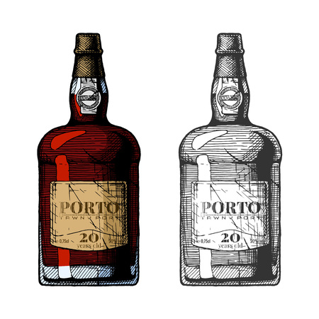 Vector hand drawn illustration of tawny port wine bottles in vintage engraved style. 20 years old. Color and black-and-white versions. Ilustração