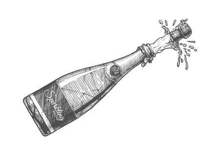 Hand drawn Illustration of  Champagne explosion. Sparkling wine Isolated on white background in vintage engraved style. Vettoriali