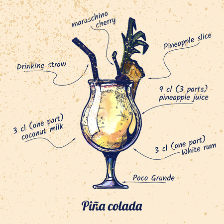 An ink drawing and watercolor vector illustration of cocktail pina colada and its ingredients. On old paper background.