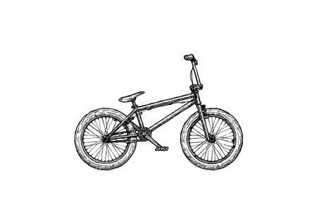 Off-road sport bicycle. Vector ink hand drawn illustration of BMX bike in vintage engraved style.