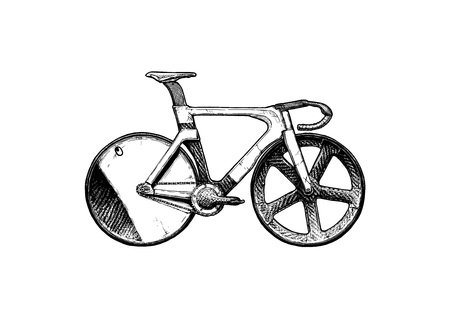 A Vector ink hand drawn illustration of Track bicycle in vintage engraved style. Carbon fiber bike with fixed-gear.