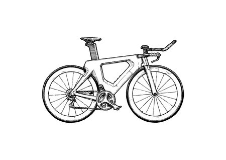 Triathlon bike Vector ink hand drawn illustration of Time trial bicycle in vintage engraved style. Stock Illustratie