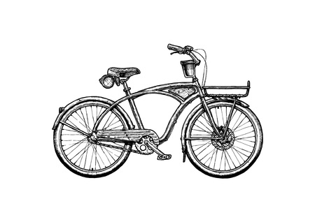 Vector ink hand drawn illustration of Cruiser bicycle in vintage engraved style.