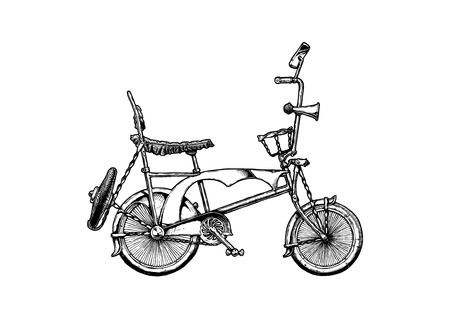 A Vector ink hand drawn illustration of Low rider bicycle in vintage engraved style.