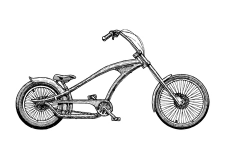 Vector ink hand drawn illustration of chopper bicycle in vintage engraved style.