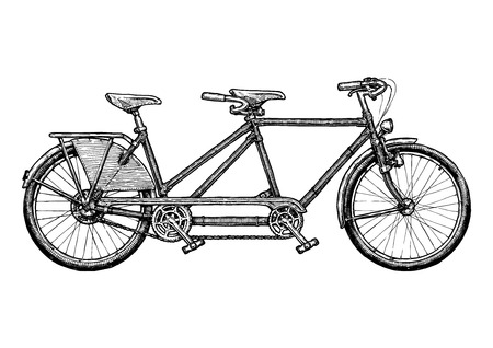 Tandem bicycle Vector ink hand drawn illustration of twin bike in vintage engraved style. Illustration