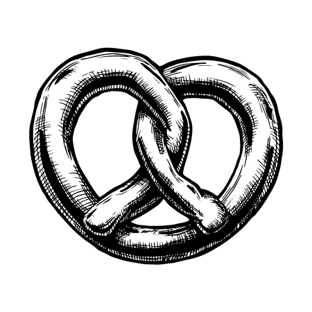 Hand drawn Illustration of Pretzel in vintage engraved style. isolated on white.