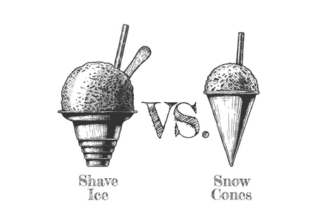 Shave ice vs. Snow Cones. Vector hand drawn illustration in vintage engraved style. Isolated on white background. Ilustração