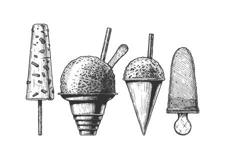 Set of frozen and ice-based dessert. Kulfi, Shaved Snow, Snow Cones and ice cream. Vector hand drawn illustration in vintage engraved style. Isolated on white background.