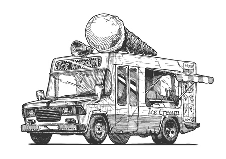 Vector hand drawn illustration of ice cream truck in vintage engraved style. Isolated on white background.  Ilustração