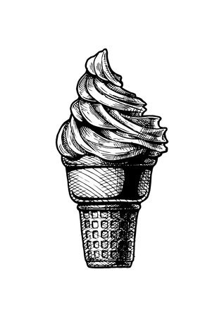 Vector hand drawn illustration of Soft serve ice cream in a cone. Vintage engraved style. Isolated on white background.