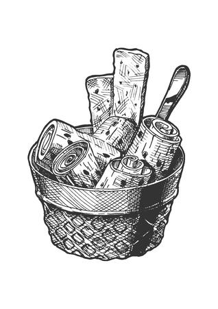 Illustration vectorielle dessinés à la main de la crème glacée sautée dans un style vintage gravé. isolé sur fond blanc.