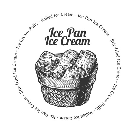Vector hand drawn illustration of  ice pan ice cream in vintage engraved style. isolated on white background.