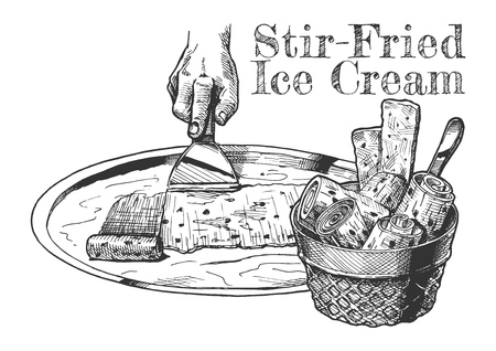Vector hand drawn illustration of Stir-fried ice cream in vintage engraved style. isolated on white background. Illustration