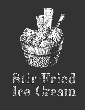 Vector hand drawn illustration of Stir-fried ice cream in vintage engraved style on chalkboard.