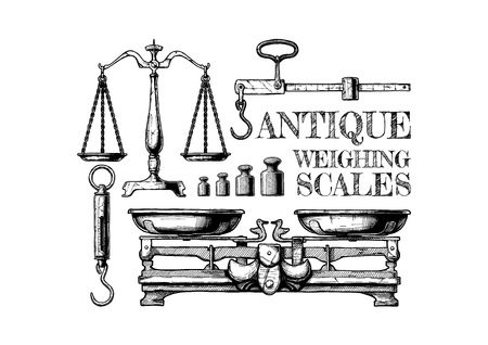 Vector hand drawn illustration of antique weighing scales in vintage engraved style. Isolated on white background.