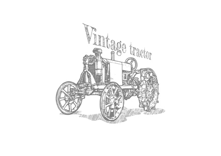 Vector hand drawing of vintage tractor. Retro poster. Isolated on white background.