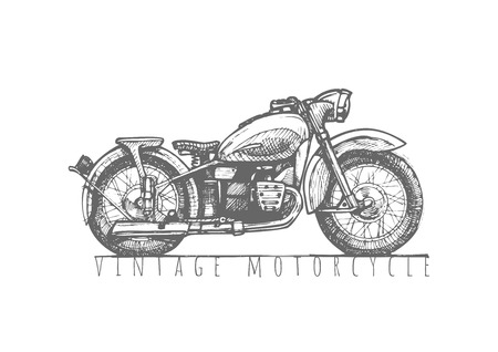 Vector hand drawn illustration of vintage motorcycle. Retro poster.