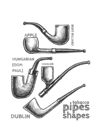Vintage set of Tobacco Pipes drawn with chalk on blackboard. Pipe shapes: apple, bent billiard, hungarian (Oom Paul), cavalier, dublin.  Illustration
