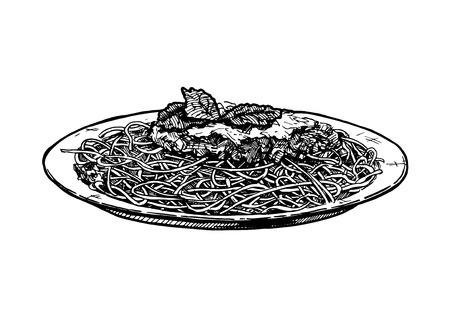 Vector hand drawn illustration of Spaghetti dishes on plate in vintage engraved style. Isolated on white background.