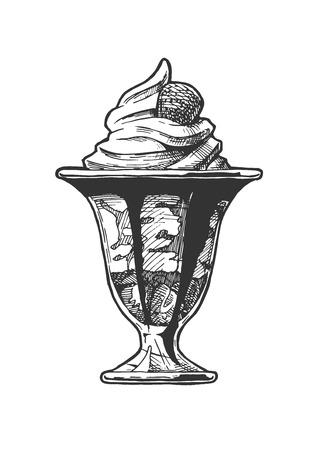Vector Hand gezeichnete Illustration von Eiscreme, die in der Glasschüssel serviert wird. Im Vintage-Gravur-Stil. Isoliert auf weißem Hintergrund.