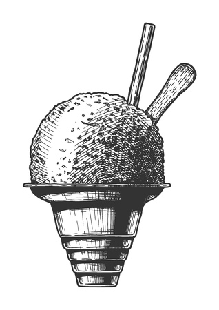Vector hand drawn illustration of Shave ice in vintage engraved style. Isolated on white background.