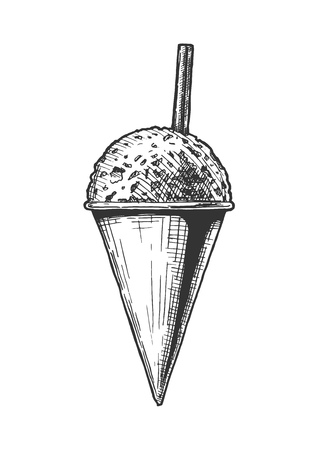 Vector hand drawn illustration of Snow Cones in vintage engraved style. Isolated on white background.