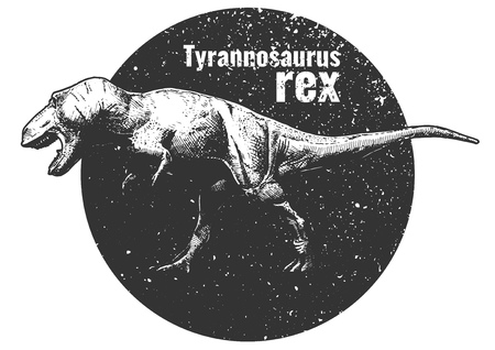 Vector hand drawn illustration of Tyrannosaurus rex inside circle in vintage engraved style.