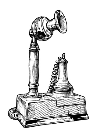 Vector hand drawn illustration of retro candlestick telephone in vintage engraved style. Isolated on white background.