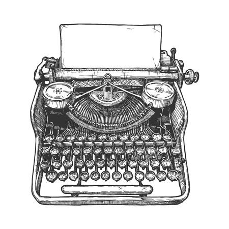 Ilustración de dibujado a mano de vector de máquina de escribir retro en estilo vintage grabado. Aislado sobre fondo blanco. Ilustración de vector