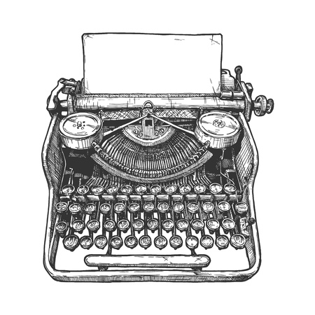 Vector hand drawn illustration of retro typewriter in vintage engraved style. Isolated on white background.