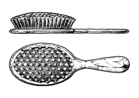 Vector hand drawn illustration of hair brush in vintage engraved style. Isolated on white background. Sideview and front view.