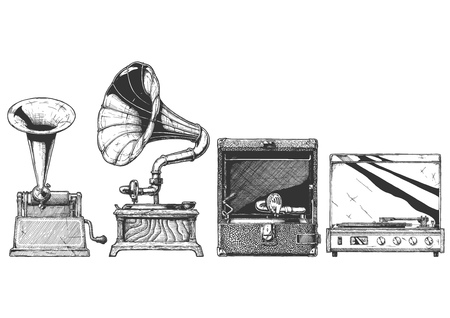 Vektor handgezeichnete Illustration der Plattenspieler-Entwicklung im Vintage-Gravur-Stil. Zylinderphonograph, Grammophon, tragbarer Aufzieh- und Plattenspieler.