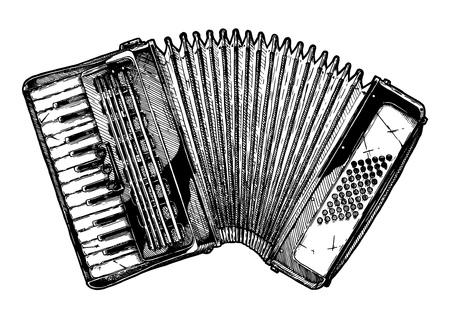Ilustración de dibujado a mano de vector de acordeón de piano en estilo vintage grabado. Aislado sobre fondo blanco.