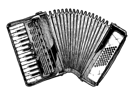 Vector hand drawn illustration of Piano accordion in vintage engraved style. Isolated on white background. Ilustracja