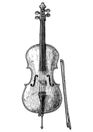 Illustrazione disegnata a mano di vettore del violoncello in stile vintage inciso. Isolato su sfondo bianco. vista frontale.